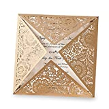 Doris Home wedding invitations wedding invites invitations cards wedding invitations kit Doris Home Square Gold Laser-cut Lace Flower Pattern Wedding Invitations Cards,50pcs,CW520_GO