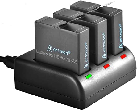Artman GoPro Hero 5/6/7 1480mah Replacement Batteries (3-Pack) and 3-Channel LED USB Charger for GoPro Hero 7 Black, Hero 6 Black,Hero 5 Black,Hero ...