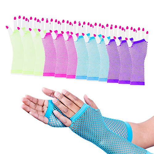 Super Z Outlet Diva Fingerless Fishnet Neon Bright Colorful Gloves 80s Dress-Up Party (12 Pack) -