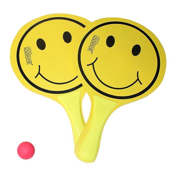 Conjunto de 2 palas de playa Smile y pelota: Amazon.es: Juguetes y ...