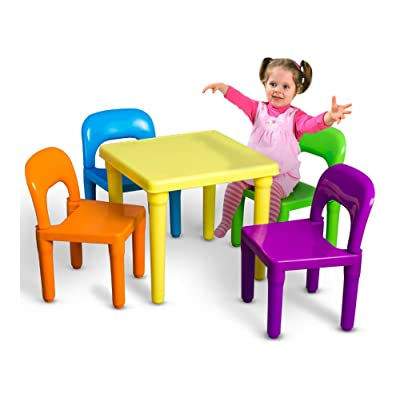 Kids Table and Chairs Play Set Toddler Child Toy Activity Furniture In-Outdoor: Toys & Games