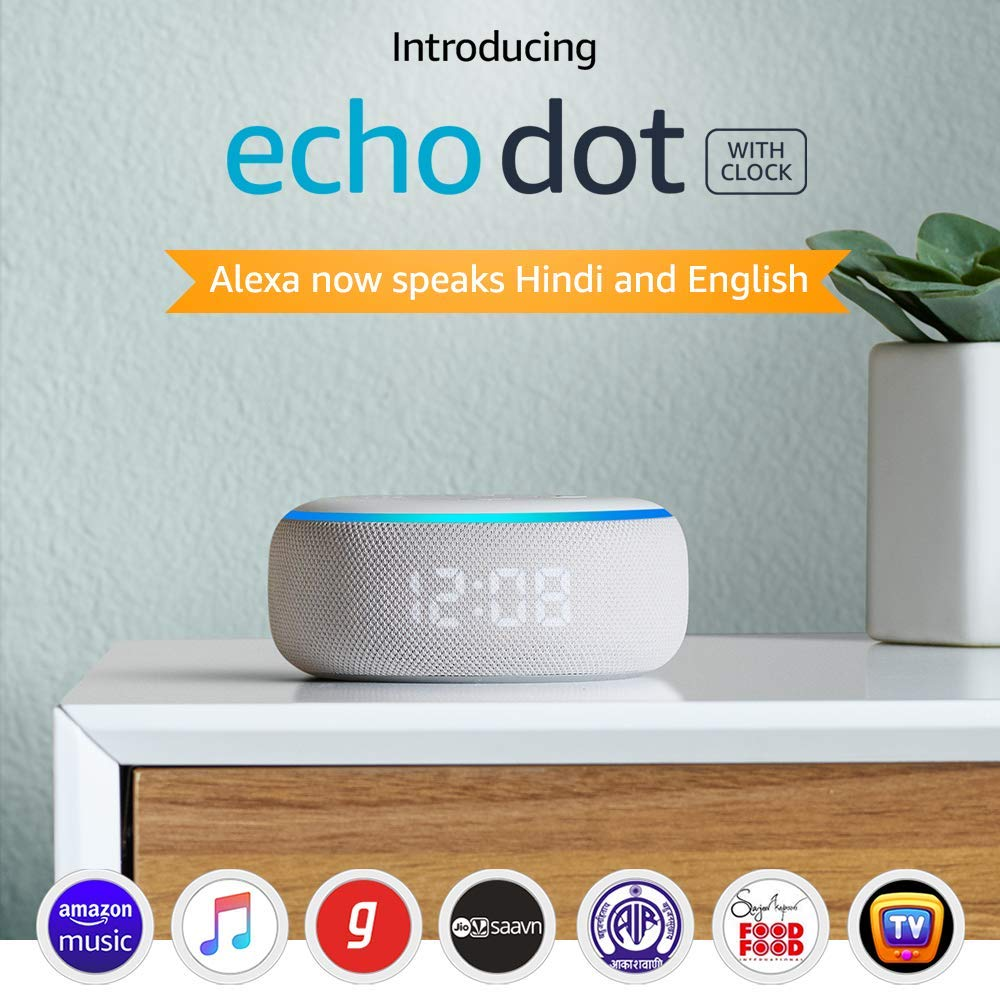 Echo Dot (3rd Gen) with clock - Smart speaker with Alexa and LED display (White)