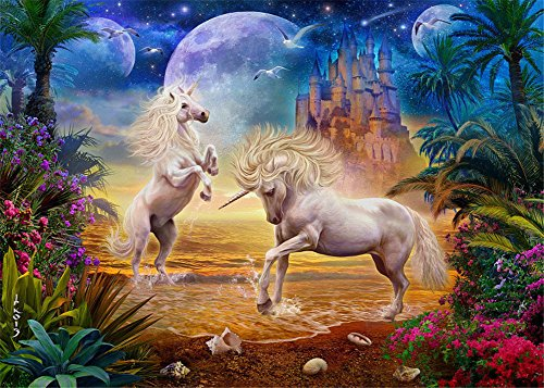 (DIY Oil Painting Paint by Number for Adults Kids Beginner, Komking Paint by Number Kit with Brush Canvas - Unicorn Seaside 16x20inch Frameless )