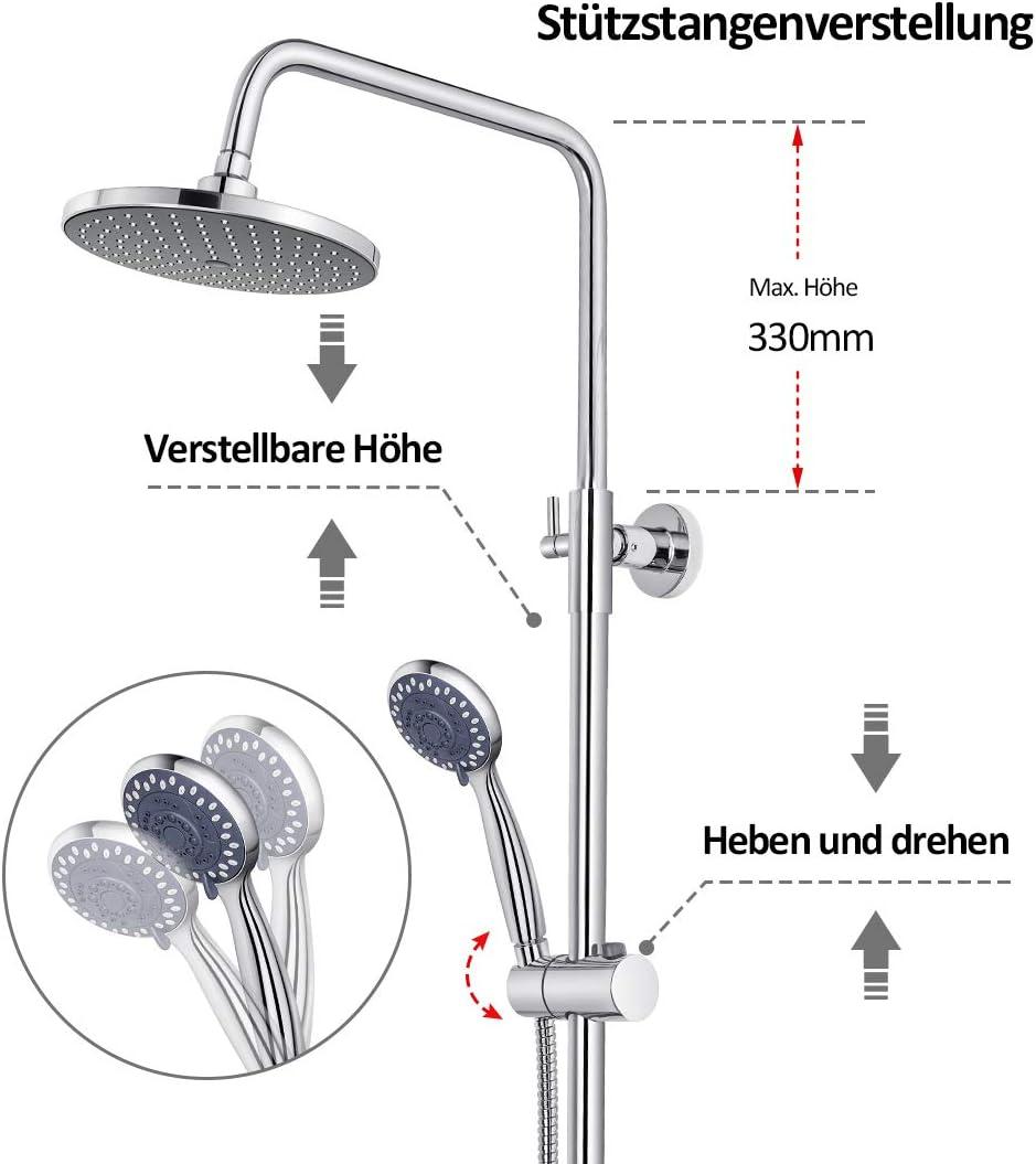 Kopfbrause und Handbrause aus Rostfreiem Stahl EMKE Edelstahl Duschsystem mit Regendusche Duschs/äule Duscharmatur Brauseset H/öhenverstellbar Duschstange