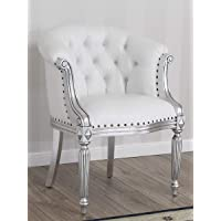 Fauteuil Isabelle Style Baroque Moderne Feuille Argent Simili Cuir Blanc Boutons Crystal SW