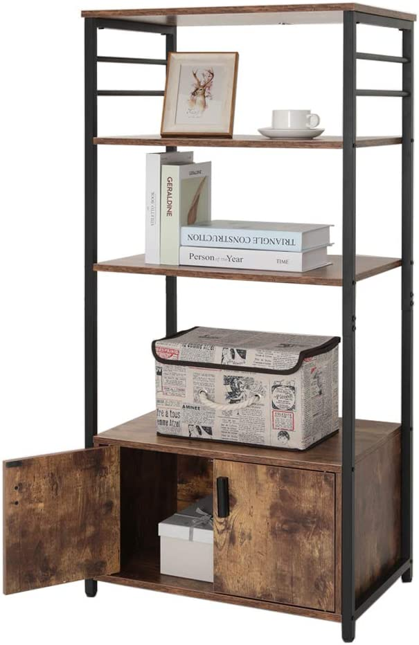 IWELL Tall Kitchen Baker's Rack with Storage Cabinet & 8 Hooks, Microwave Stand with 3 Shelves, Microwave Cabinet with Storage, Cupboard, Sideboard, Utility Storage Shelf for Kitchen, Brown - Standing Baker's Racks