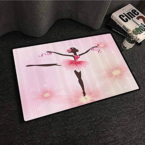 Ballerina Ballet Dancer Trees Polka Dots Artistic Gymnastic Ballet Skirt Art Lover Girl Nursery Kids Decor for Teen Girls Design Door mat Pink Fuchsia Brown Ivory Country Home Decor W35 xL47]()