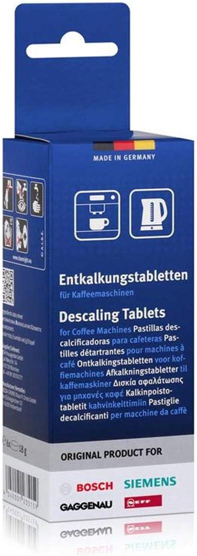 Bosch - Pastillas antical para cafeteras Bosch, Neff, Siemens y Gaggenau (6 unidades)