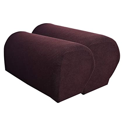 B Blesiya Set Of 2 Non Slip Stretch Furniture Armrest Cover Protector Fits Square Curved Armchair Recliner Chair Arm Sofa Coffee