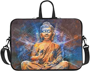 InterestPrint Seated Buddha in a Lotus Posewith Cosmic Background and Mandala Laptop Sleeve Case Bag Notebook Laptop Sleeve Bag 17 17.3 Inch for Women Men
