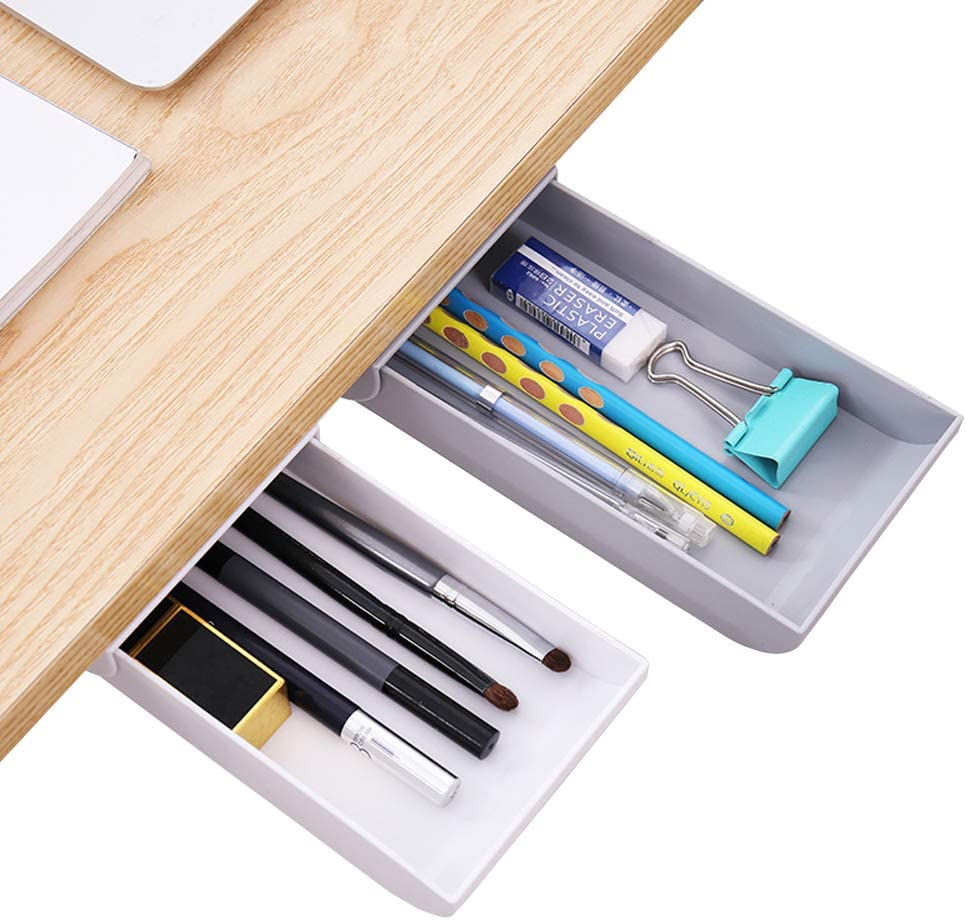 Under The Table Drawer Organizer Mini Desk Organizer,Desk Drawer Organizer,Hiding Office Desk Desktop Organizer,Expandable Drawer Tray,Hidden Storage Desk Drawer Organizer Tray(gray)