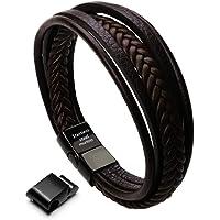 "Murtoo Leather Bracelet Magnetic-Clasp Cowhide Braided Multi-Layer Wrap Mens Bracelet,7""-8.7"""