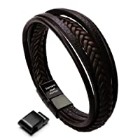 Murtoo Leather Bracelet Magnetic-Clasp Cowhide Braided Multi-Layer Wrap Mens Bracelet, 8''-8.7''