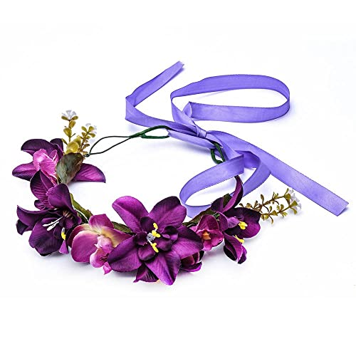 Love Sweety HH9 Lily Flower Crown with Adjustable Ribbon for Wedding