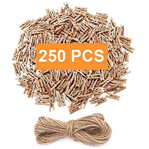 Mini Clothespins, Mini Natural Wooden Clothespins with Jute Twine, Multi-Function Clothespins Photo Paper Peg Pin Craft Clips, 250 PCS, Mini Size 1.0 inch for Home School Arts Crafts Decor by -