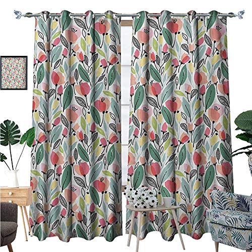 Leaf Room Darkening Wide Curtains Floral Pattern with Poppies in Hand Painted Style Spring Nature Inspired Blossoms Decor Curtains by W96 x L84 -