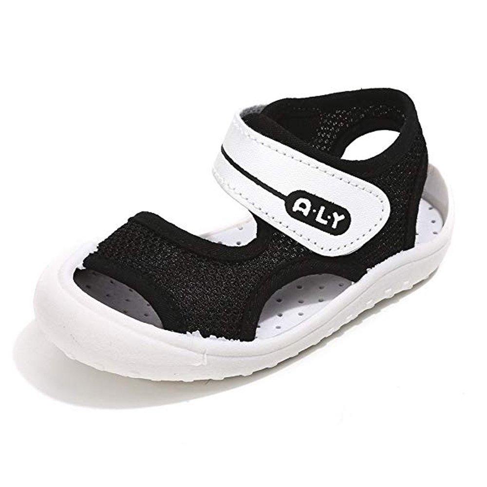 Boys Girls Summer Sport Sandals Open-Toe Rubber Sole Pool Beach Mesh Sneakers Outdoor Water Shoes (Toddler/Little Kid) Black,15