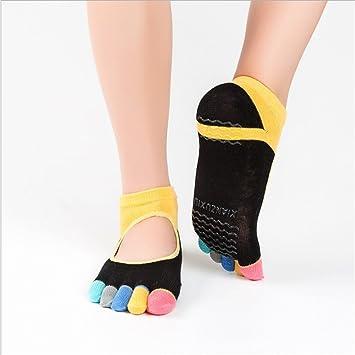 Maybesky Calcetines de Yoga Calcetines de Dedo Antideslizante Tobillo con Punta de algodón Calcetines con Punta