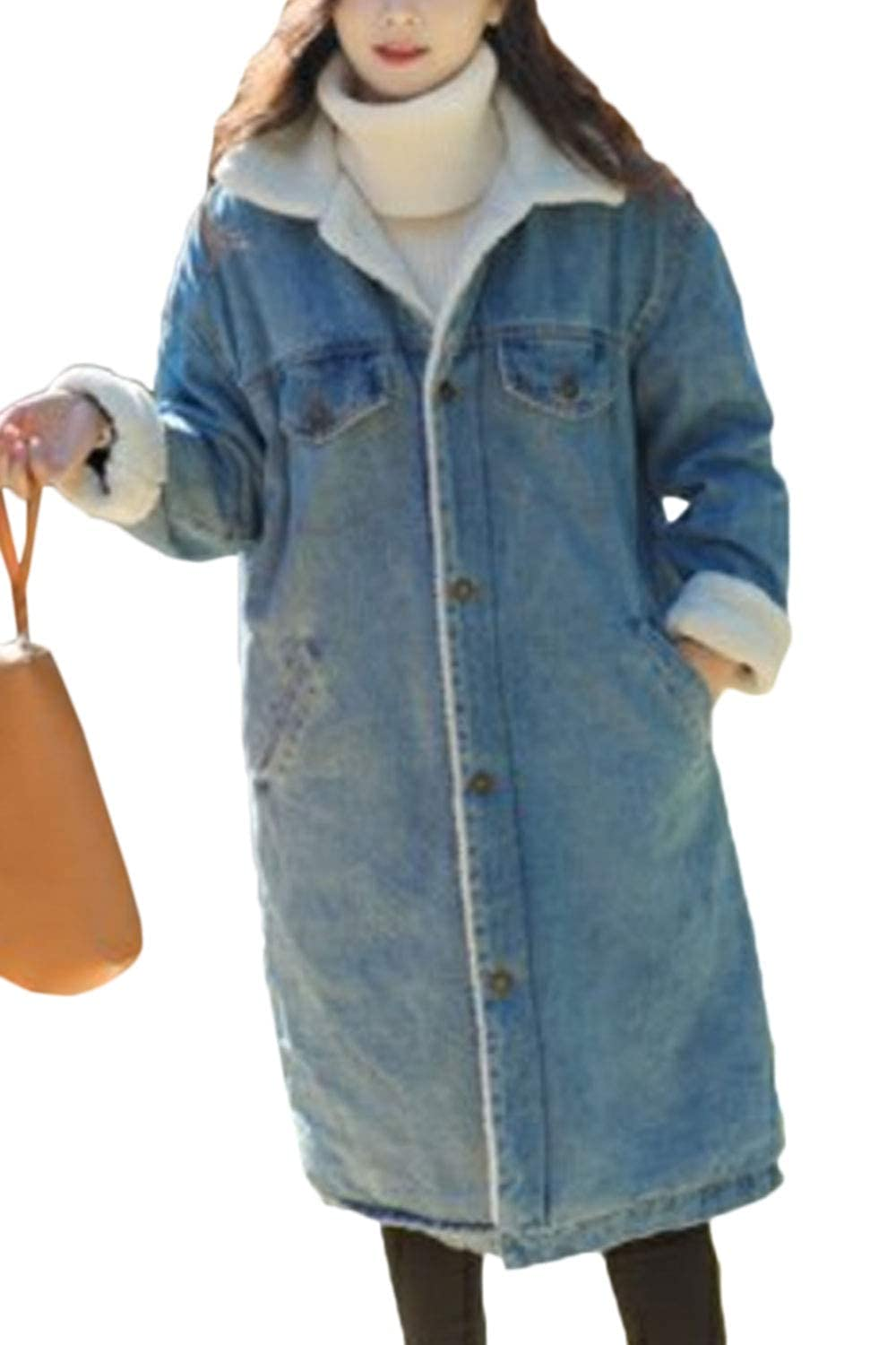 Zilcremo Womens Denim Trenchcoat Thick Fleece Lined Lapel Button Down Jacket