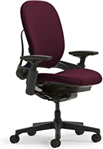 Steelcase Leap Plus Task Chair: Fully Adjustable - Live Back Technology - Natural Glide System - Thermal Comfort - Firmness Control - Adjustable Arms/Seat Depth - Burgundy