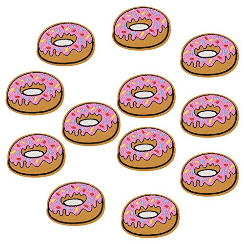 XUNHUI 10 pcs Donuts Patches Badges for Clothing Iron Embroidered Patch Applique Iron Sew on Diy Patches Sewing Accessories for Clothes (Donut Patch)