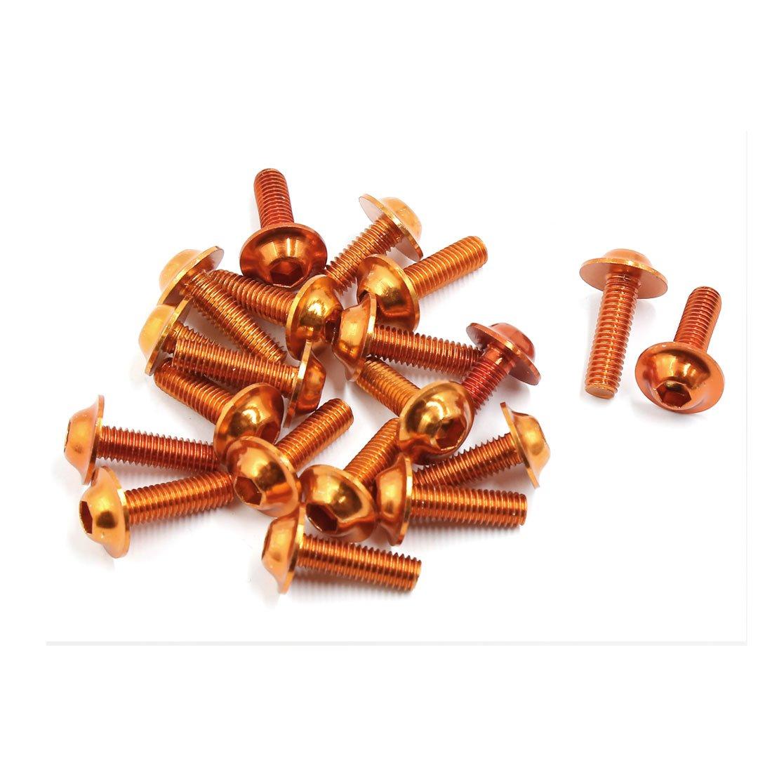 sourcingmap/® M6 Corps alliage aluminium vis car/énage moto orange vis fixation 20pcs