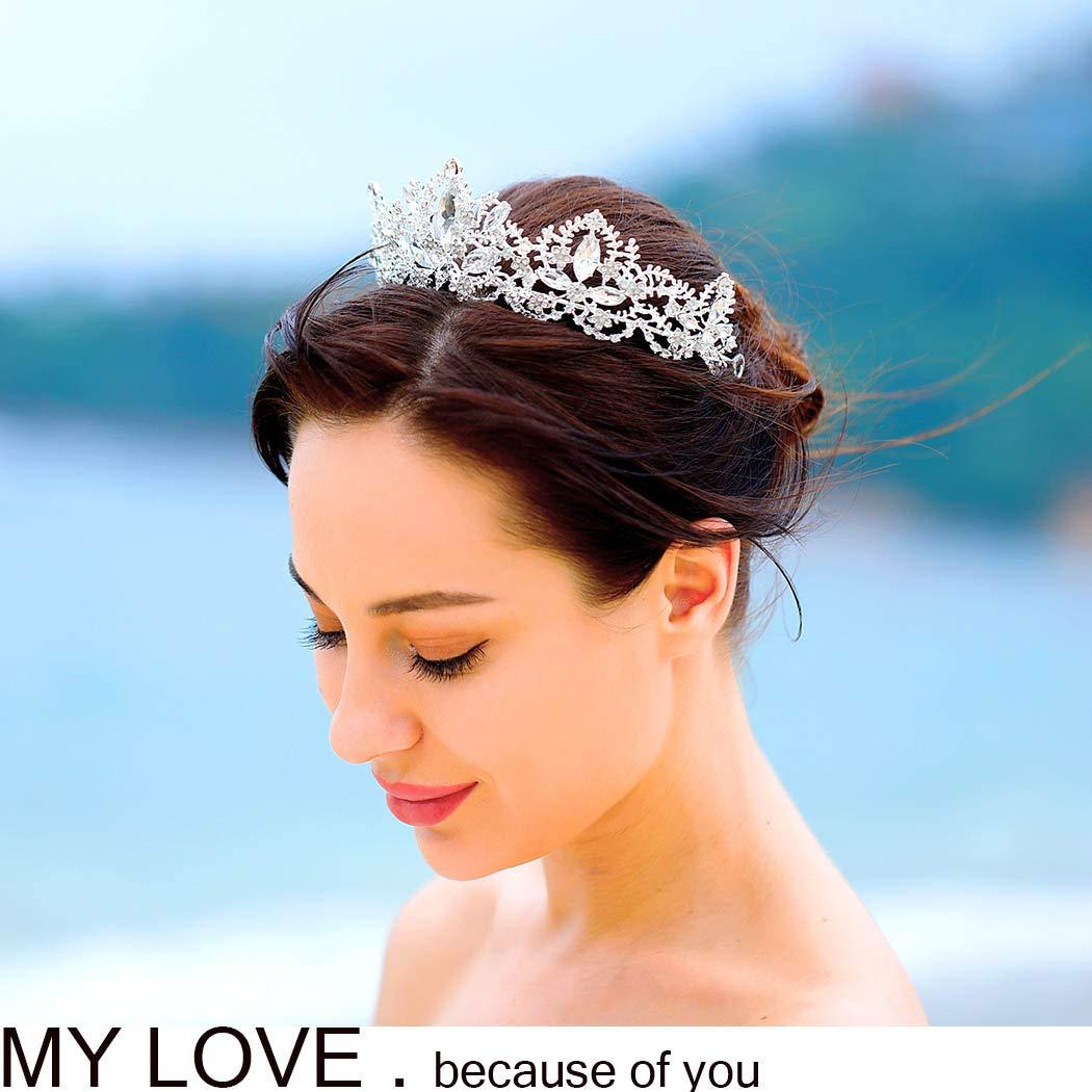 Aukmla Wedding Hair Accessories Bride Crowns Flower Queen Tiaras Headpiece for Women (Silver) by Aukmla