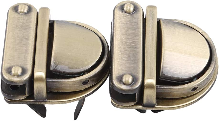 Iumer Duck Tongue Shape Small Clasp Turn Twist Lock Hardware for DIY Clutche Handbag Shoulder Bag Purse Metal,Bronze
