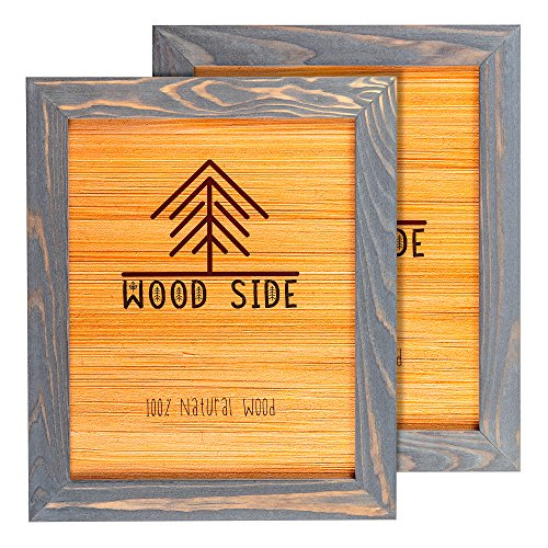 - Rustic Wooden Picture Frame 8x10 - Grey Set of 2-100% Natural Eco Solid Wood and High Definition Real Glass for Wall Mounting Photo Frames