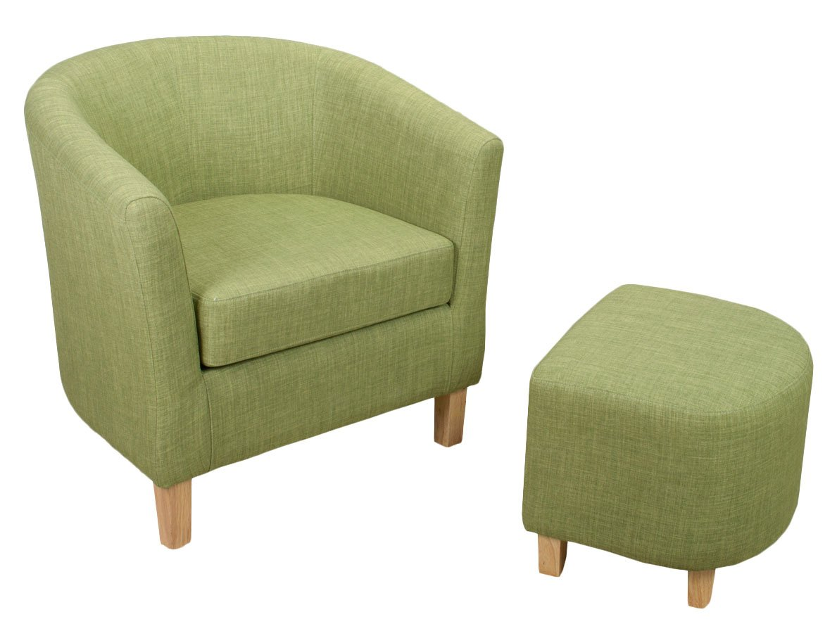 Shankar Linen Effect Tub Chair Set With Footstool, Lime: Amazon.co.uk:  Kitchen U0026 Home