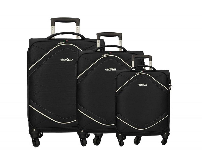 Set 3 valigie trolley in tessuto con 4 ruote autonome - Valigia piccola bagaglio a mano idonea voli low cost Ryanair Easyjet (Blu) Clacson 12127