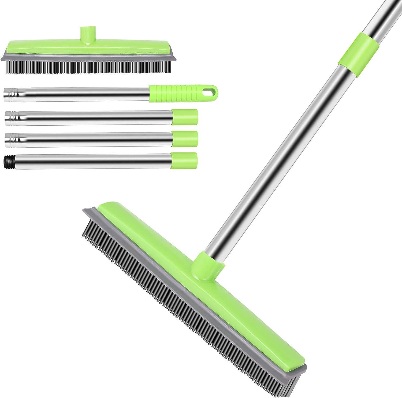 JUOIFIP Pet Hair Rubber Broom| Soft Push Broom| Carpet Rug Rake| Adjustable Stainless Steel Long Handle Indoor Broom| Squeegee Edge Bristle Broom for Carpet Hardwood Floor Window(Green)