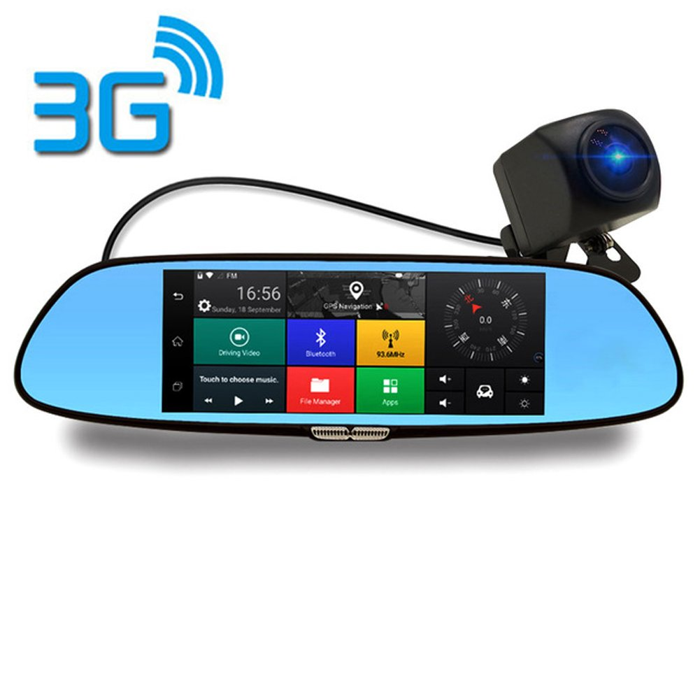 3G Dash Cam7.0 inch Touch Car DVR C08 Mirror Monitor Kit Bluetooth Wifi Dual Lens Rearview Mirror Android Car Video Recorder