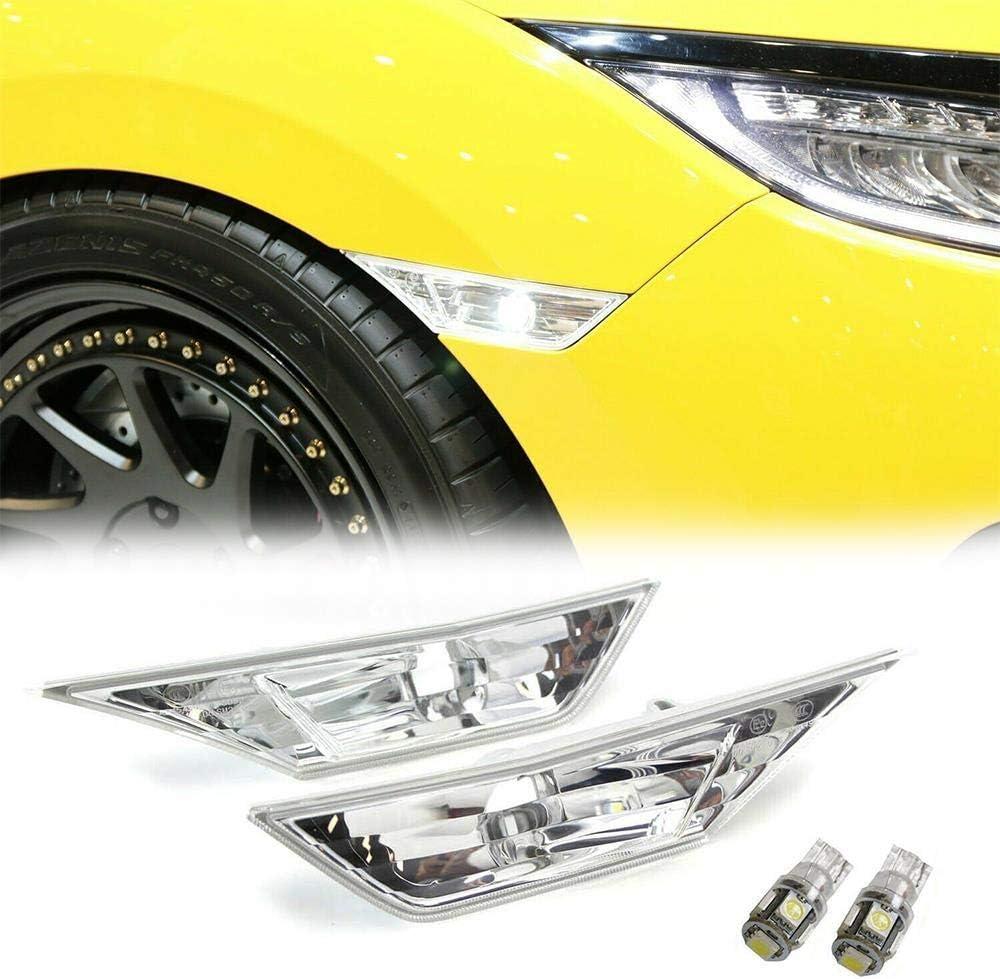 Overun 2pcs Replacement Clear Lens Bumper Light Lamp Deflector Designed for 2016-2020 Honda Civic