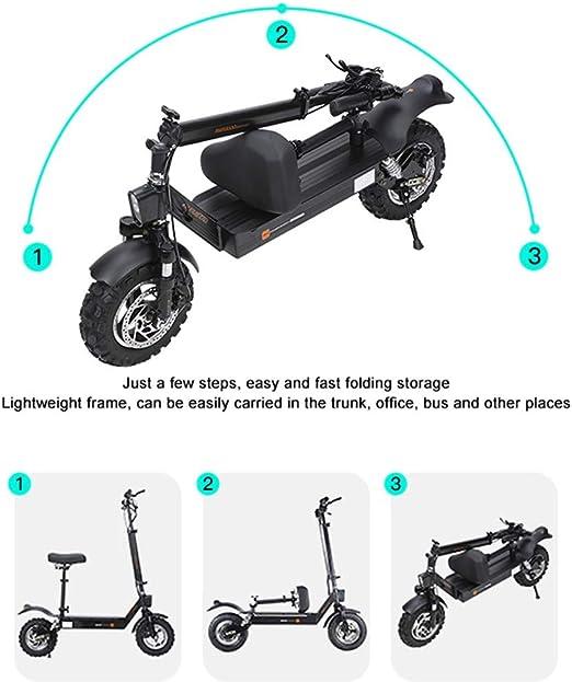 COKECO Elettrico Pieghevole Scooter velocit/à Massima Motore 5400 W 85 Km//h Double Drive Scooter da Pendolare da 11 Pollici con Sede E Batteria da 60V Fari A LED Monopattino Elettrico