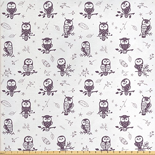 (Lunarable Doodle Fabric by The Yard, Cute Silhouette Owl Characters with Funny Faces Tree Branches Nature, Decorative Fabric for Upholstery and Home Accents, Eggplant Pale Mauve White)
