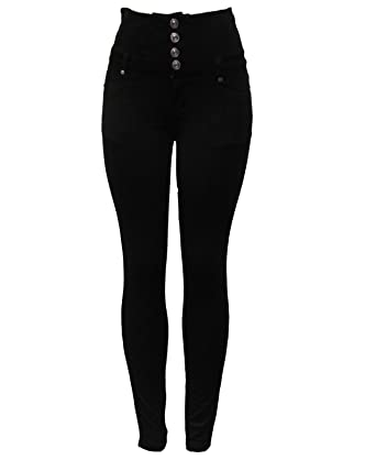 6aafcf33cef1 New Ladies Womens Black Fashion Stretch High Waist Four Button Skinny  Jeggings Jeans Leggings UK Size 8-20  Amazon.co.uk  Clothing