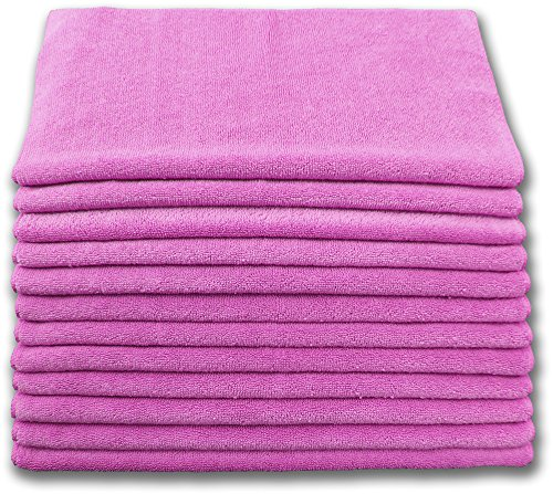 Highest Quality Microfiber Terry Cloth 16x16 300gsm - Pink Case of 204 by Direct Mop Sales, Inc.