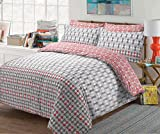 The Kingsford Everyday Luxury 7 piece Reversible Duvet Cover set with 2 Pillow Cases, 2 pillow shams & 2 Zippered pillow protectors, Egyptian Cotton Rich Percale Rowan Leaf Red King