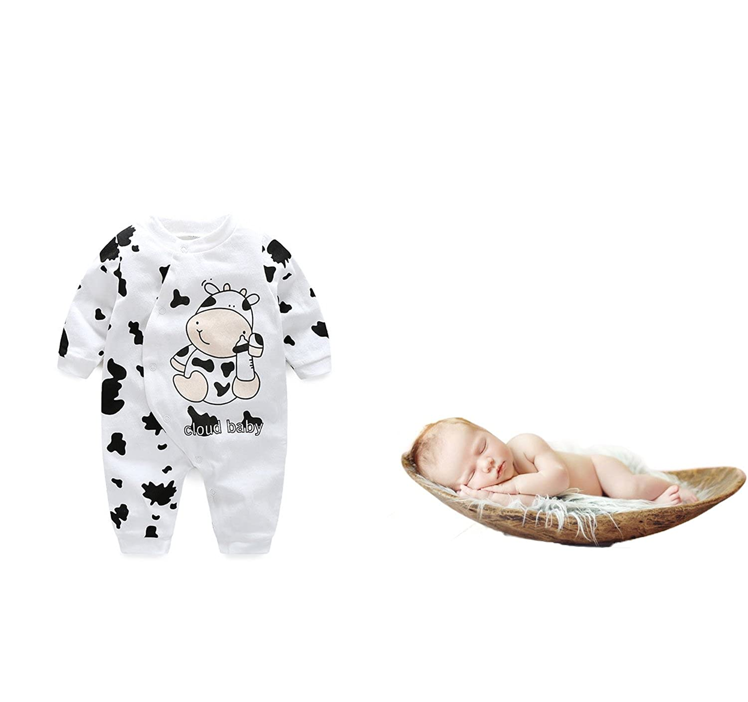 Lemonkids® Baby Onesies Unisex Clothes Cow Print Long Sleeve Faddist Spark Malls-CA