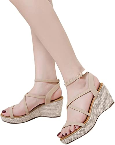 Vermers Clearance Deals Women Sandals Summer Fashion Bandage Wedges Shoes Girl Roman Sandals Us 7 5 Khaki Amazon Co Uk Shoes Bags