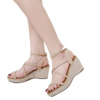 fbcb0b1a3bb vermers Clearance Deals Women Sandals Summer Fashion Bandage Wedges Shoes  Girl Roman Sandals(US