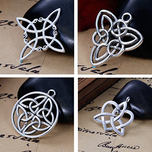 (JGFinds Celtic Knot Charms, 40 pc (10 of Each) Silver Tone Pendants )