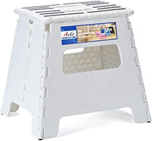 Acko Folding Step Stool 13 inch Step Stool,Plastic Folding Stool,2019 Upgraed Foldable Step Stool for Adults,Plastic Step Stool for Kitench,White