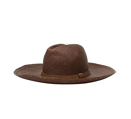 54bc63db578 Amazon.com  Gucci Wide Brimed Unisex Nut Brown Straw Small Fedora ...