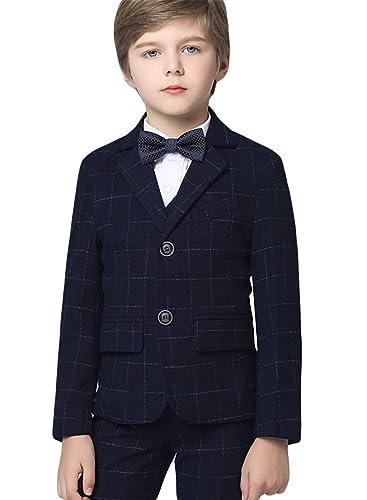 Amazon.com: Insun Boys Slim Fit Plaid Formal Dress Suit Set ...