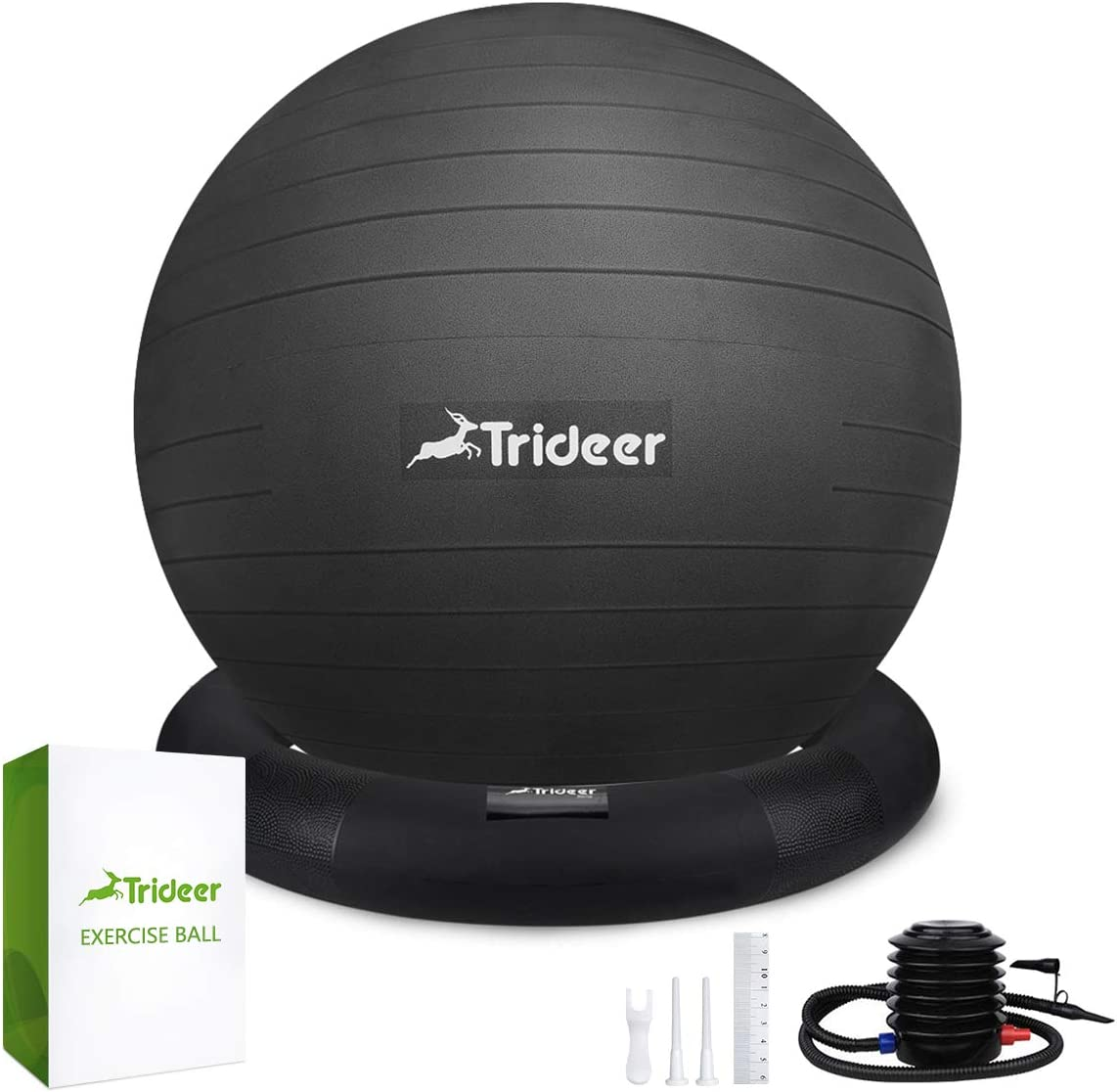 Trideer Ball Chair - Exercise Stability Yoga Ball with Base for Home and Office Desk, Ball Seat, Flexible Seating with Pump, Improves Balance, Back Pain, Core Strength & Posture