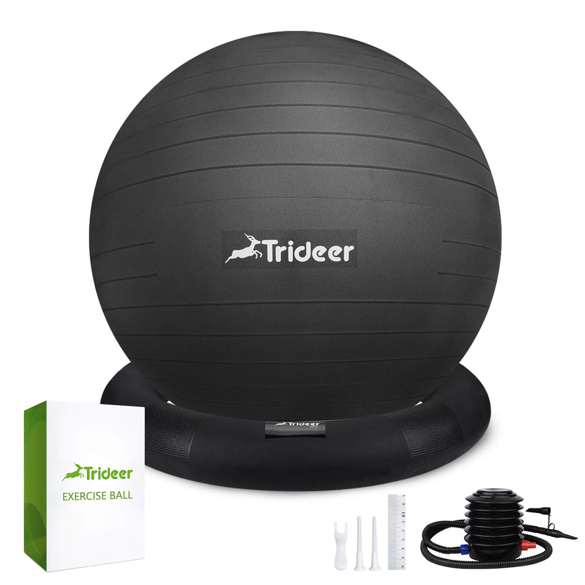 Trideer Ball Chair - Exercise Stability Yoga Ball with Base for Home and Office Desk, Ball Seat, Flexible Seating with Ring & Pump, Improves Balance, Back Pain, Core Strength & Posture(Ball with Ring by Trideer