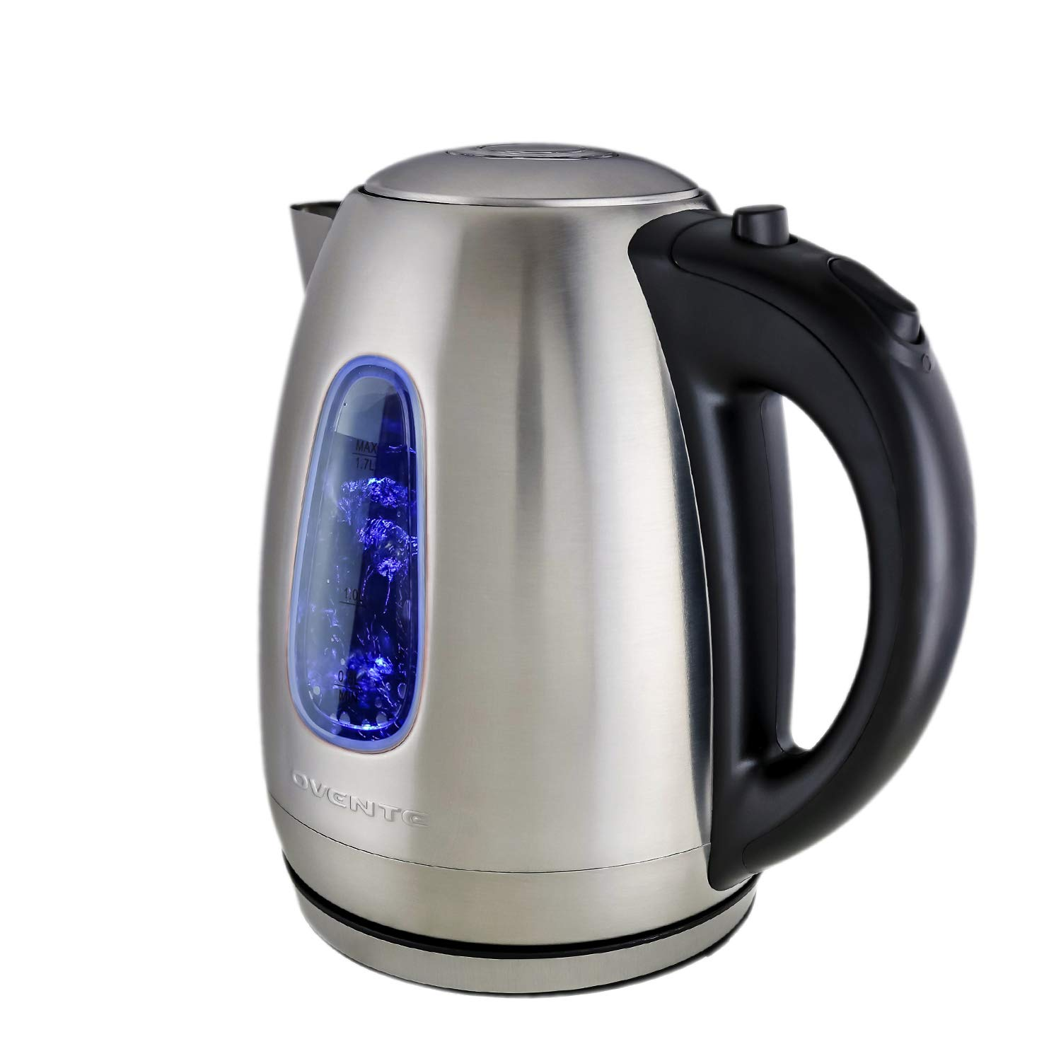 Ovente Electric Kettle, Cordless Tea and Water Heater, Automatic Shut-Off & Boil-Dry Protection, BPA-Free, Stainless Steel, Concealed Heating Element, 1100W, 1.7L (Silver)