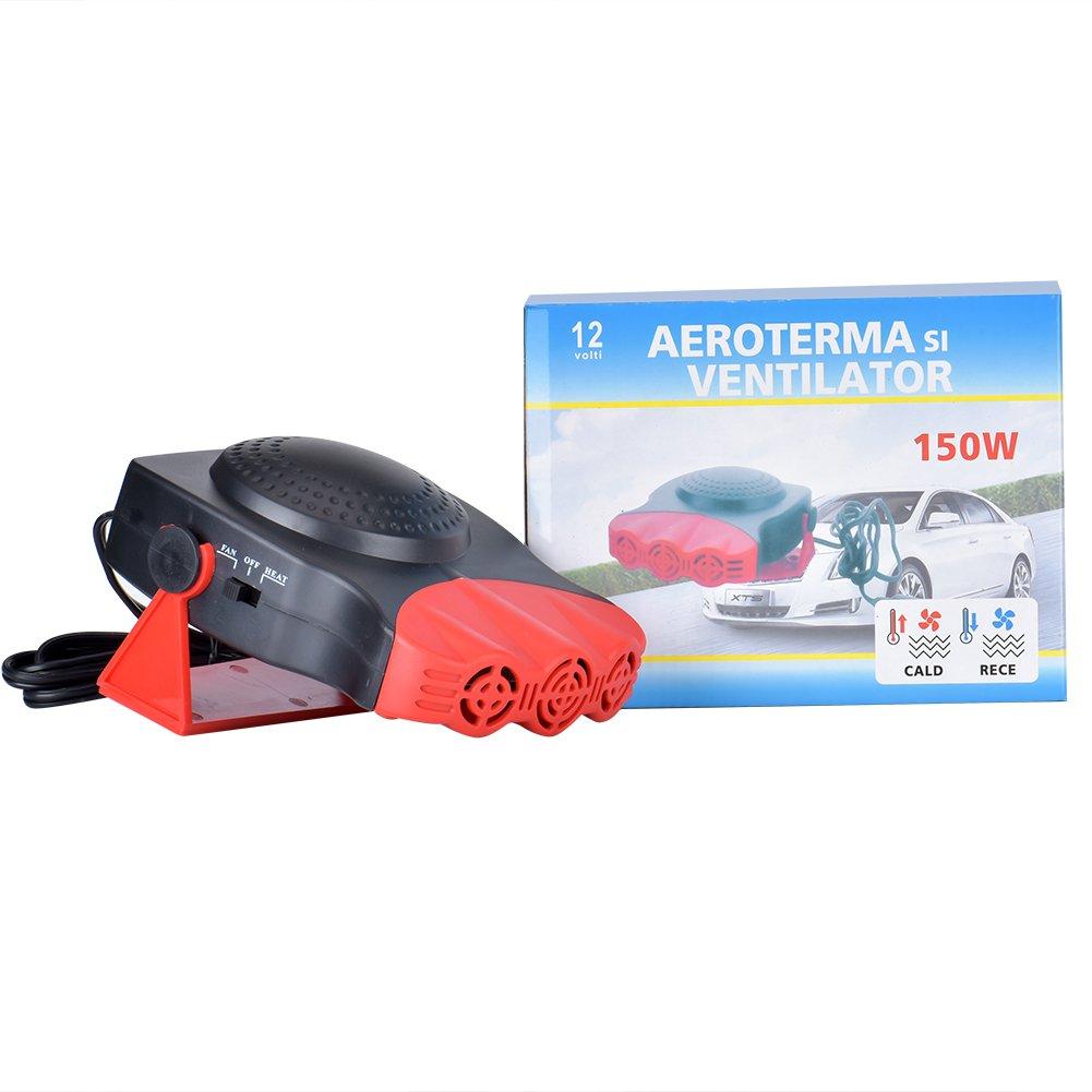 Towinle Calefactor Coche 12v Potencia 150W//Fusible Seguro Calentador Coche Mechero Deshelador de Ventanas con Ventilador Rojo